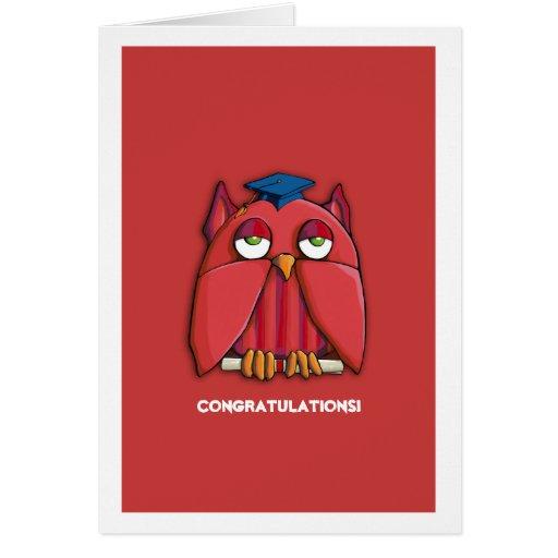 Red Owl Grad red Congratulations Graduation Card