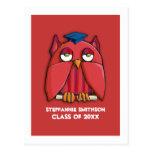 Red Owl Grad red Graduation Invitation Postcard