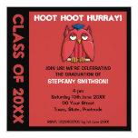 """Red Owl Grad red Graduation Party Invitation 5.25"""" Square Invitation Card"""