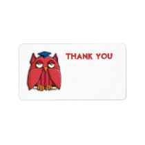 Red Owl Grad Thank You Gift Tag Sticker