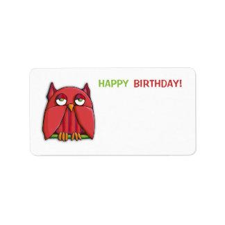 Red Owl Happy Birthday 2 Gift Tag Sticker Address Label