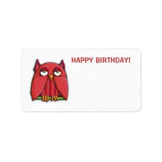 Red Owl Happy Birthday Gift Tag Sticker Custom Address Labels
