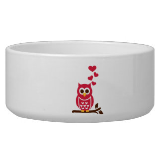 Red owl hearts pet food bowl