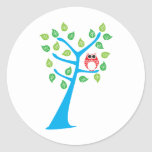 Red Owl In Tree Classic Round Sticker