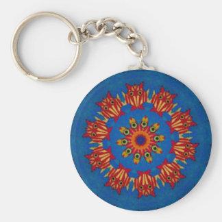 Red Owl Mandala Keychain