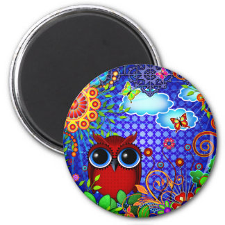 Red Owl on Blue 2 Inch Round Magnet