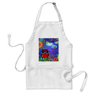 Red Owl on Blue Adult Apron