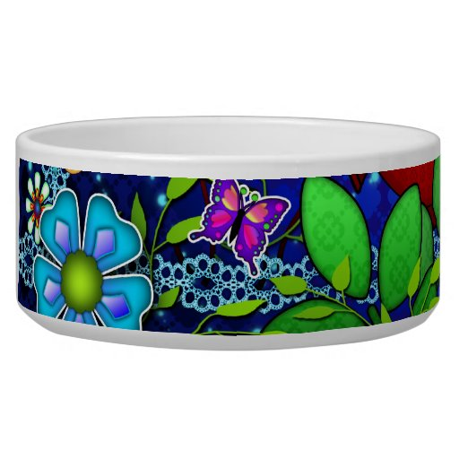 Red Owl on Blue Dog Water Bowls