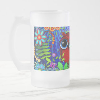 Red Owl on Blue Frosted Glass Beer Mug