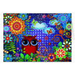 Red Owl on Blue Greeting Card