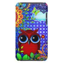 Red Owl on Blue iPod Case-Mate Case