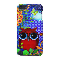 Red Owl on Blue iPod Touch 5G Cover