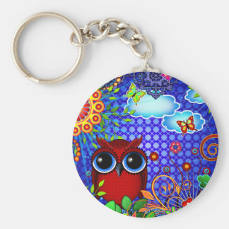 Red Owl on Blue Keychain