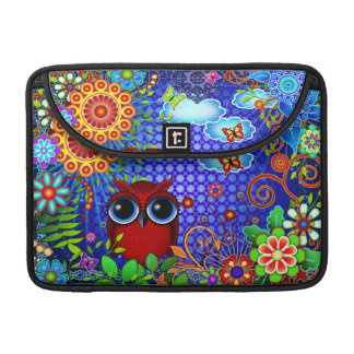 Red Owl on Blue Sleeve For MacBook Pro