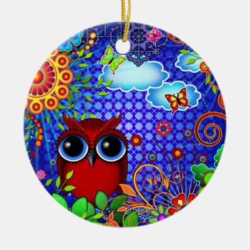 Red Owl on Blue Double-Sided Ceramic Round Christmas Ornament