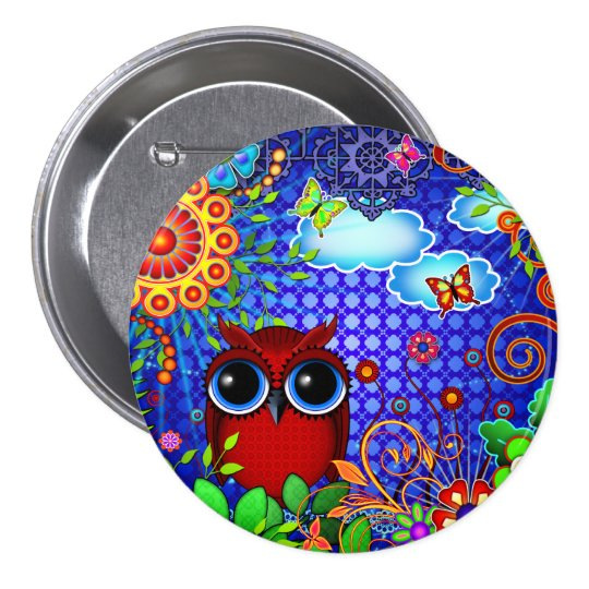 Red Owl on Blue Pinback Button