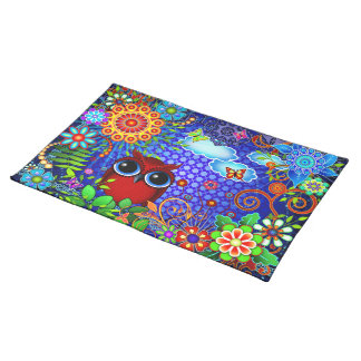 Red Owl on Blue Placemats