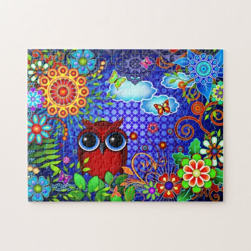 Red Owl on Blue Jigsaw Puzzle