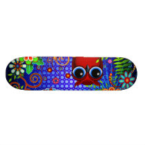 Red Owl on Blue Skateboard