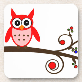 Red Owl on Cherry Tree Drink Coaster