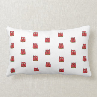 Red Owl pattern Throw Pillow