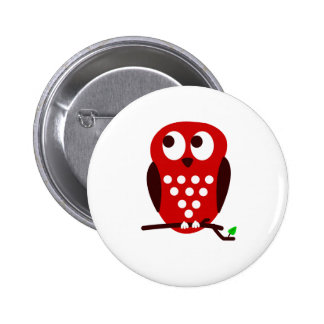 Red Owl Pinback Button
