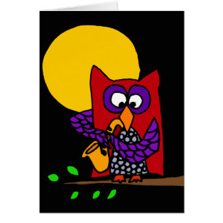 Red Owl Playing Saxophone in the Moonlight Card