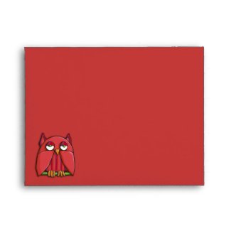 Red Owl red A2 Note Card Envelope envelope