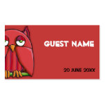Red Owl red Birthday Place Card Business Card Template