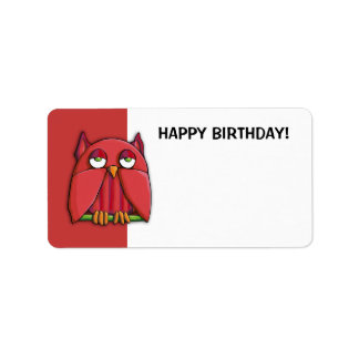 Red Owl red Happy Birthday Gift Tag Sticker