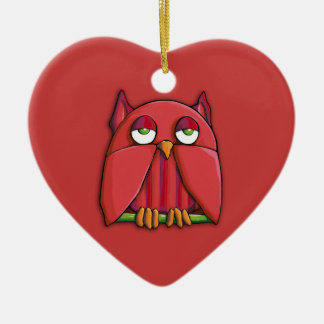 Red Owl red Heart Ornament