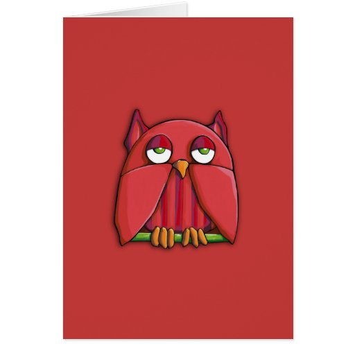 Red Owl red Note Card