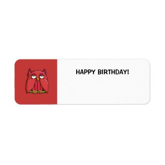 Red Owl red Small Happy Birthday Gift Tag Sticker label
