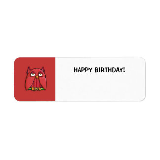 Red Owl red Small Happy Birthday Gift Tag Sticker Custom Return Address Labels