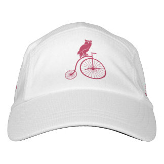 Red Owl Sitting on a Vintage Penny Farthing Bike Hat