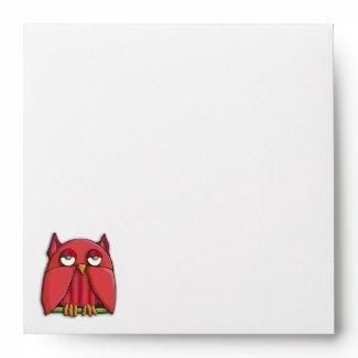 Red Owl Square Invitation Envelope envelope