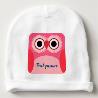 Red Owl Square Personalized Baby Beanie
