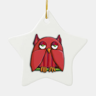 Red Owl Star Ornament