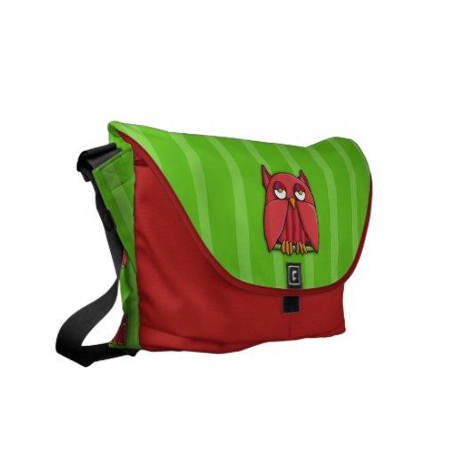 Red Owl stripes Messenger Bag