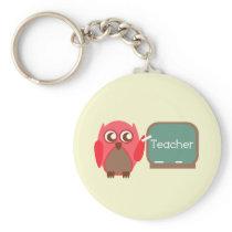 Red Owl Teacher At Chalkboard Keychain