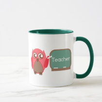 Red Owl Teacher At Chalkboard Mug