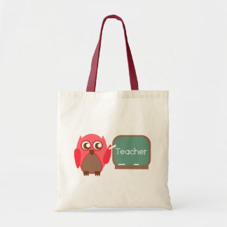 Red Owl Teacher At Chalkboard Tote Bag