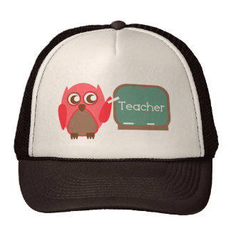 Red Owl Teacher At Chalkboard Trucker Hat