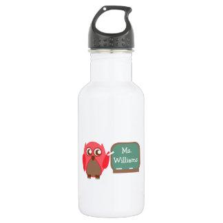 Red Owl Teacher At Chalkboard Water Bottle