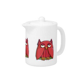 Red Owl Teapot