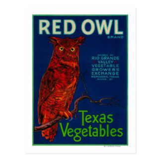 Red Owl Vegetable Label Postcard