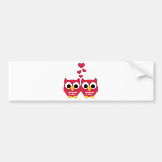 Red owls red hearts bumper sticker