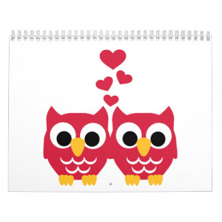 Red owls red hearts wall calendars