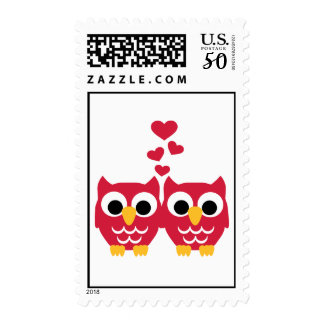 Red owls red hearts postage