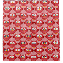 Red Owls Shower Curtain